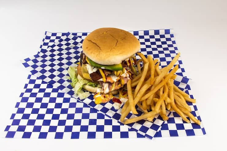 Hamburger and fries on a blue and white checkered paper
