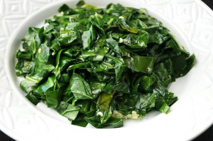 A close up of greens in a bowl
