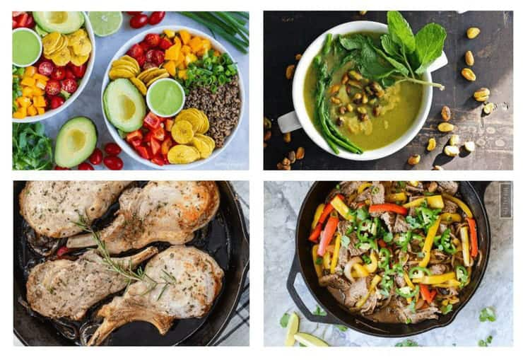 A collage image of 4 whole 30 dinner recipes