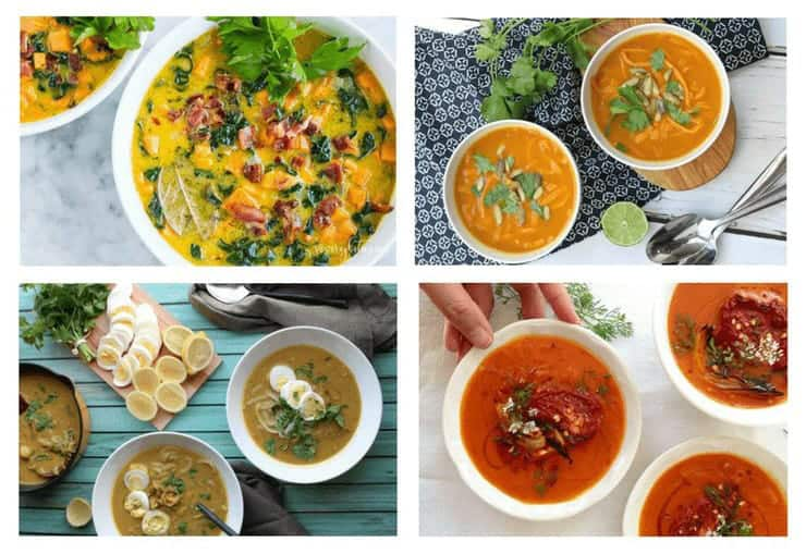 A four collage image of paleo soup recipes
