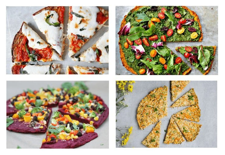 A collage image of four Healthy Pizza Crust Recipes
