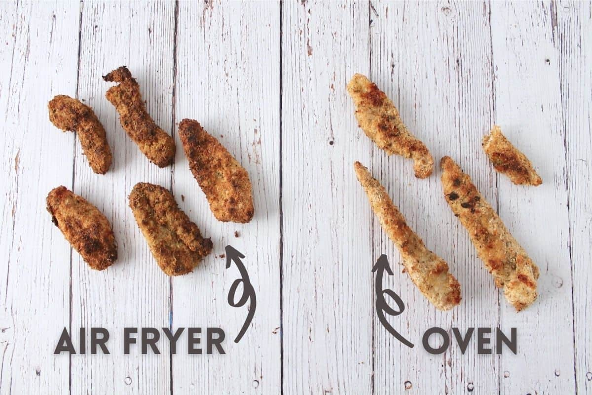 Comparison photo of the difference between air fryer or oven baked chicken tenders