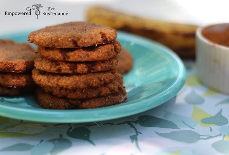 six cookies stacked on a blue plate