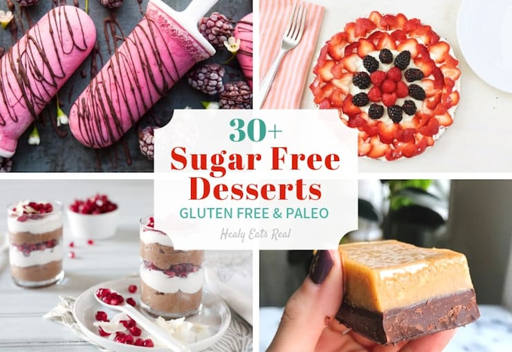 Collage of sugar free desserts with popsicle, fruit tart, bar and parfait