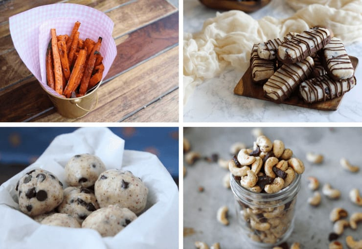 A four image collage of low carb snack ideas