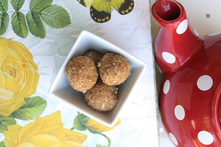 Paleo cookie balls in a small white bowl