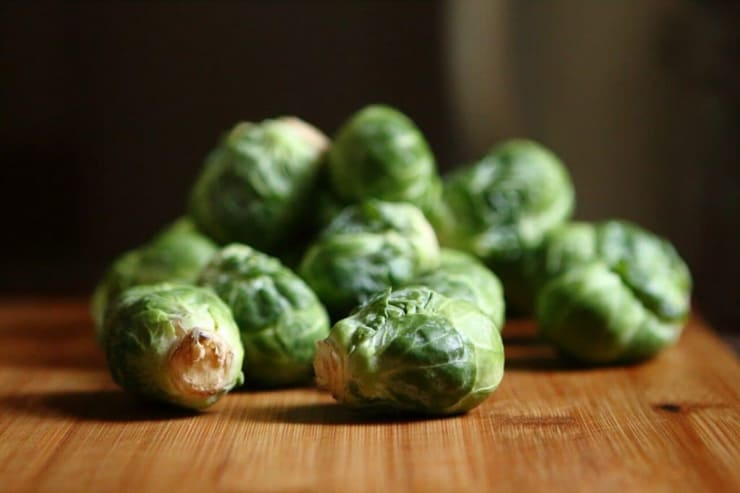 Brussels sprouts on a wooden sufrace