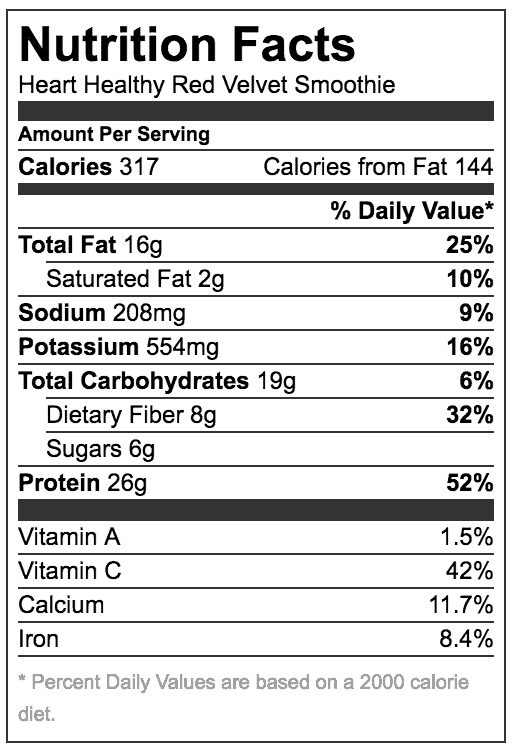 Nutrition Facts for Red Velvet Smoothie Including fat, protein and carbs