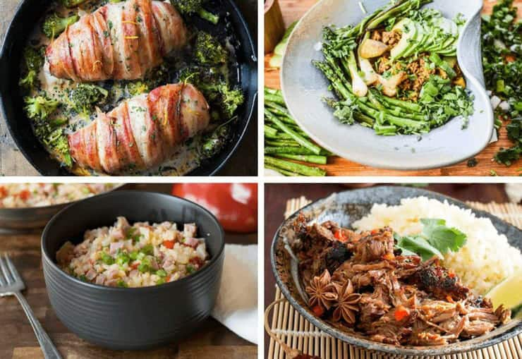 A collage image of 4 keto recipes