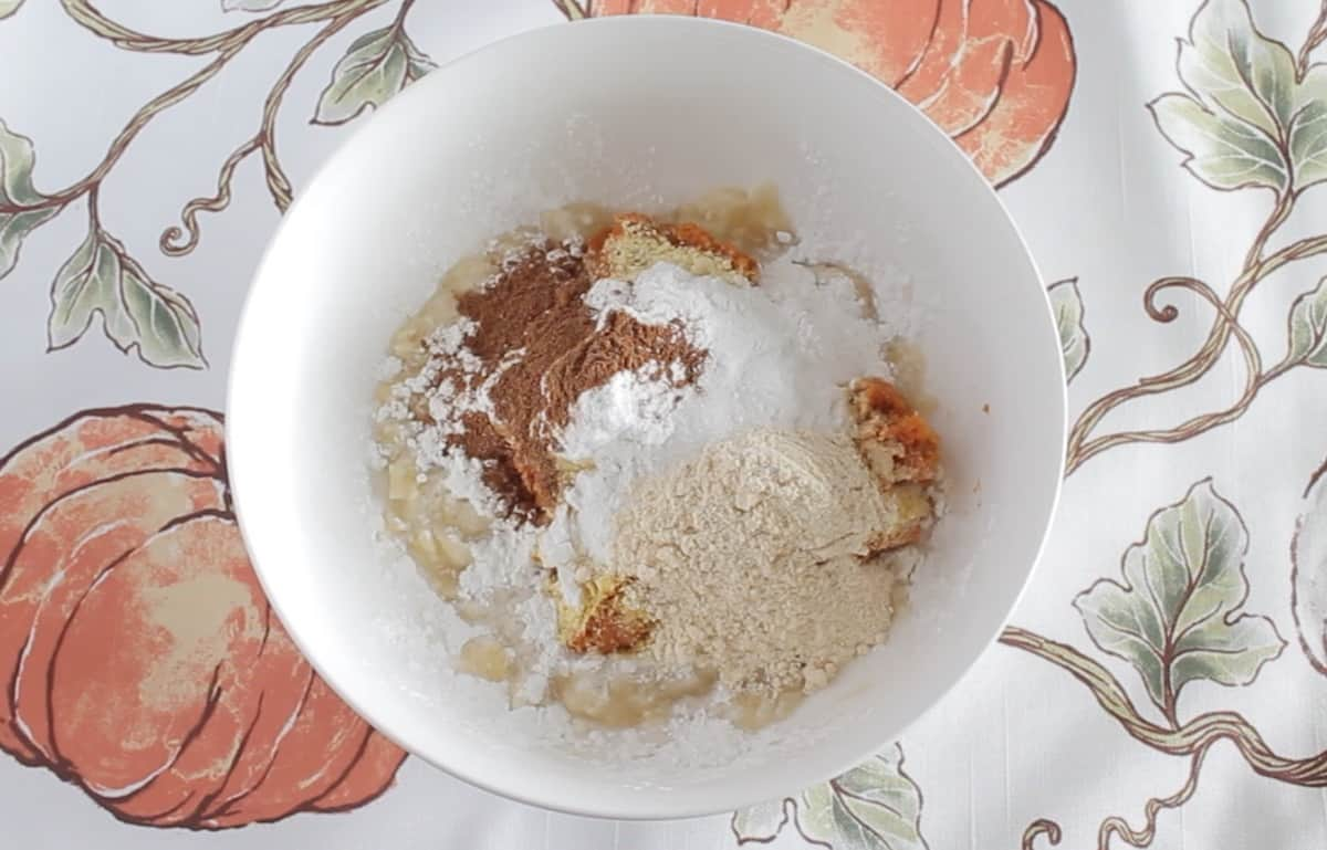 Banana Pumpkin cookie dry ingredients in a white bowl