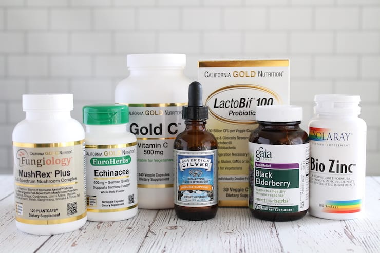 Bottles of the best supplements to boost the immune system lined up