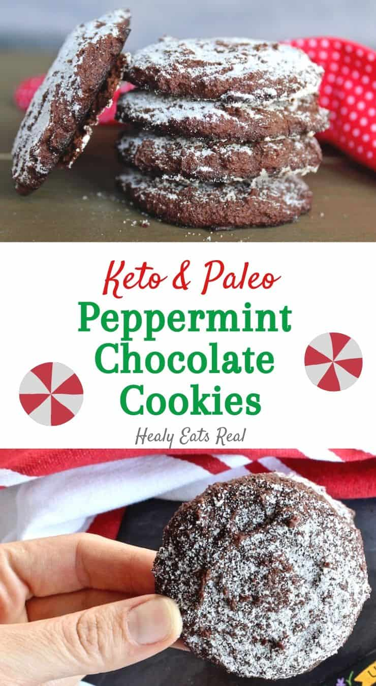 Peppermint Keto Chocolate Cookies (Paleo, Low Carb)