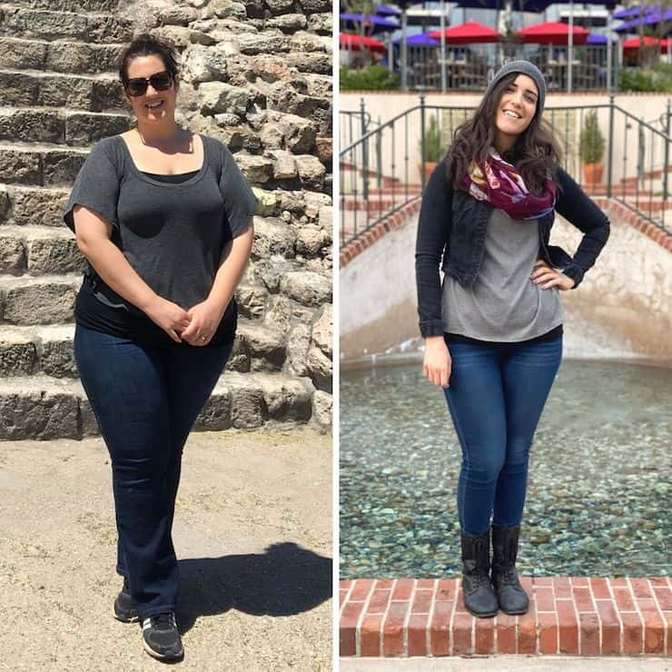 split images, on left side is an overweight woman standing on sand, on the right is an average weight woman standing on a brick ledge