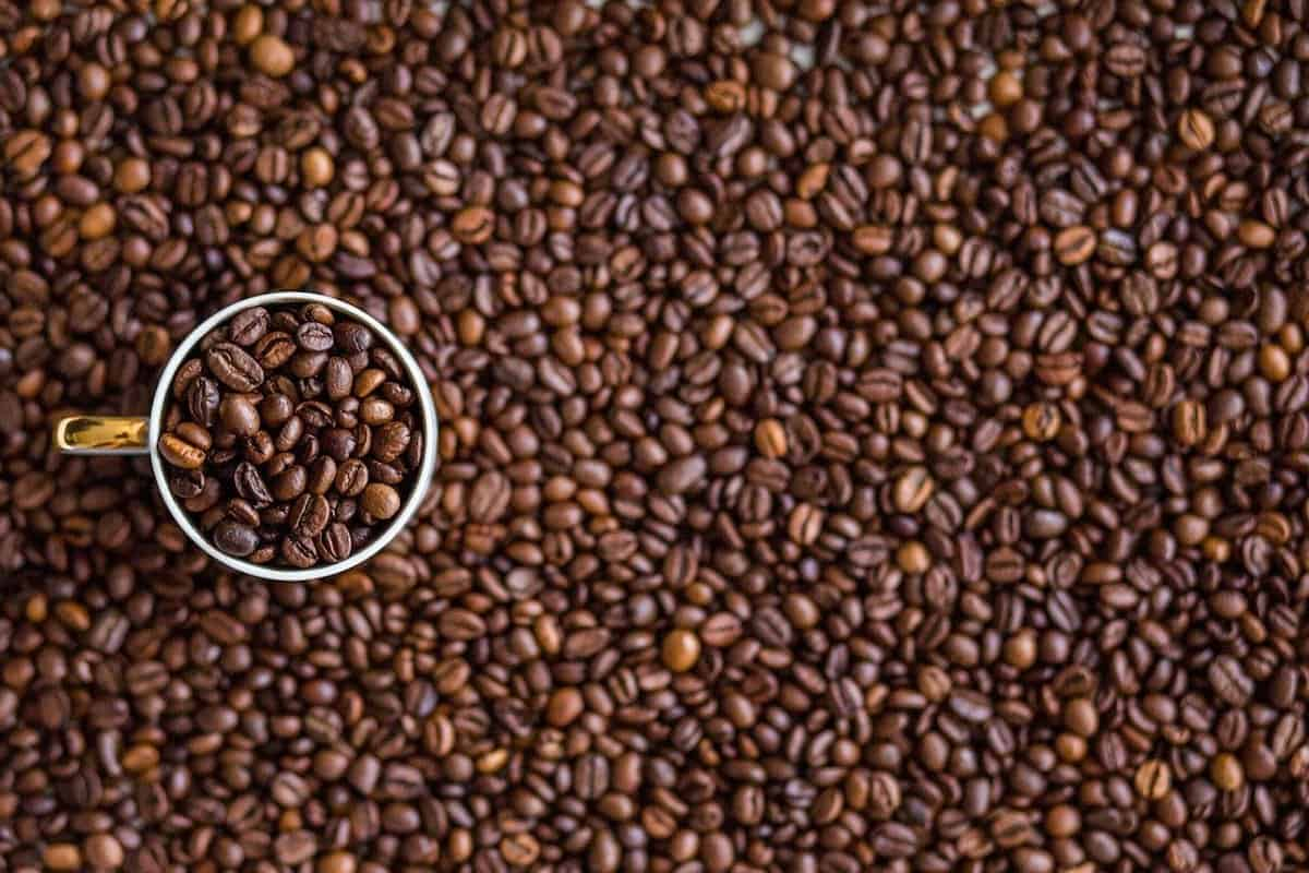 coffee beans covering a surface with a coffee cup on top filled with coffee beans