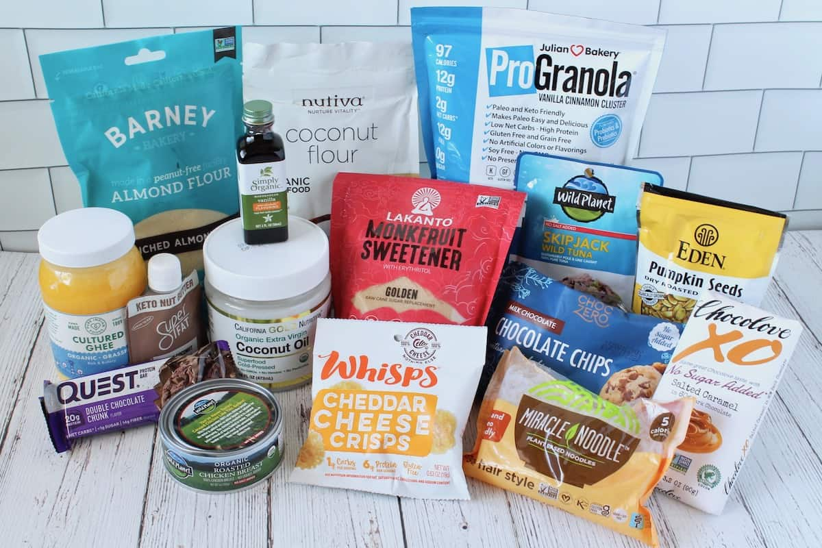 Collection of keto pantry essential product packages