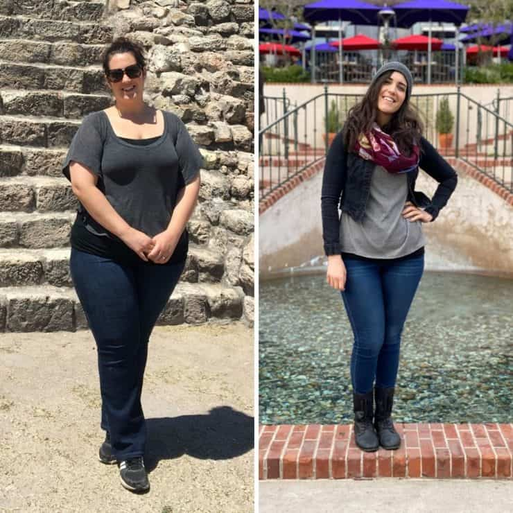 before photo on left side of overweight dark haired woman next to after photo on the right of slimmed down dark haired woman